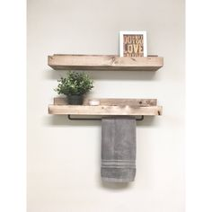 Rustic Wooden Towel Rack for Bathroom Wall, Towel Rack Shelf, Bathroom Rack, Towel Hanger Sto… – Towel hanger diy Wooden Bathroom, Bathroom Wall Decor, Bathroom Shelves, Bathroom Storage, Bathroom Inspo, Wall Storage, Ledge Shelf, Rack Shelf, Wall Shelves