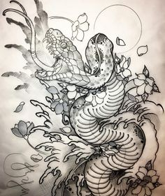 Snake sketch for the Sunday full sleeve appointment, hopefully my client will li… – Serpent tattoo Japanese Snake Tattoo, Japanese Tattoo Designs, Japanese Sleeve Tattoos, Full Sleeve Tattoos, Snake Sketch, Snake Drawing, Snake Art, Skull Sketch, Tattoo Sketches