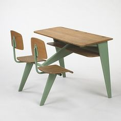 JEAN PROUVE    school desk    Ateliers Jean Prouve  France, c. 1950  enameled steel, oak  43.5 w x 35 d x 29 h inches