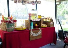 Vintage Red Wagon 1st birthday party... always wanted to do this for my future son's first birthday