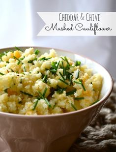 Cheddar & Chive Mashed Cauliflower from Rachel Schultz- ok just tried this, tasted just like mashed potatoes! Did it with vegan cheese and left out parm and chives. Still amazing!