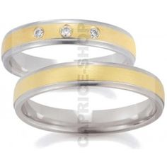 Gerstner wedding rings width: 4 mm Color: white yellow white Number, cut and carats of diamonds: 3 briliant 0,06 carat Precious alloy type (at your choice): Gold 585‰ Gold 750‰ Platinum950‰