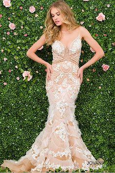White Embroidered Sheer Neckline Elegant Dress 41592