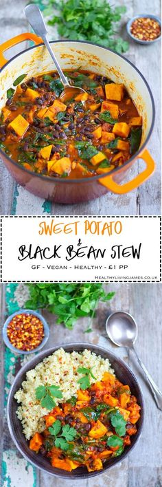 This Sweet Potato & Black Bean Stew is the perfect comforting dish to make during this cold weather. It is so simple to make and extremely inexpensive, costing around £4-£5 for the whole dish. That is roughly £1 a portion!!! It's gluten free, vegan, plant Veggie Recipes, Soup Recipes, Whole Food Recipes, Cooking Recipes, Cooking Ideas, Recipies, Chicken Recipes, Recipes Dinner, Beans Recipes