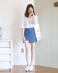 korean style korea fashion denim skirt sneaker t-shirt jeans cute chic Korean Fashion Summer, Korean Fashion Trends, Korean Street Fashion, Korea Fashion, Asian Fashion, Trendy Fashion, Ulzzang Fashion Summer, Korean Fashion Ulzzang, Fashion 2020
