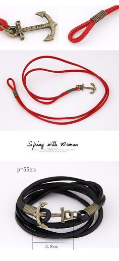Stretch Black Anchors Shape Decorated Multilayer Design Alloy Korean Fashion Bracelet