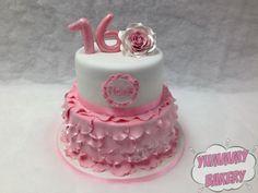 Ballerina Ballet birthdaycake pink ruffles rose sweet sixteen