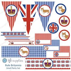 A Rule Britannia themed printable party package - great for British themed parties! Use it for birthdays, weddings, bridal or baby showers or for