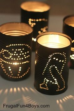 Upcycle cans into Star Wars lanterns - oh the kids will love these!! They'll want to leave them up all year