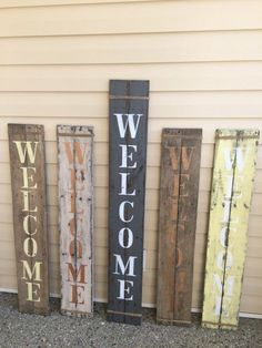 Decorate your front porch with this rustic WELCOME sign in a variety of color paint choices. Each sign is embellished with jute wrapped around top and bottom. Lean this next to your front or back door or hang it up on the porch or in your home.  *Sign may be rough and have splinters due to its natural weathered state. Nails have also been kept in wood for a more rustic look. *Sign will measures anywhere from 39to 48 tall by 7 wide due to wood availibility.  *Each sign will very a bit in size…
