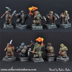 Dwarf miner miniatures 28mm scale. The torch one is fabulously painted!