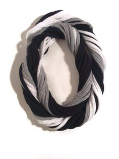 Oakland Raiders Loopy Infinity Scarf - Upcycled from Recycled Tshirts - Black Gray White Football Jersey Necklace on Etsy, $20.00