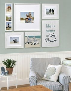 Beach Memory Gallery Wall with a Life is Better at the Beach Sign! Featured here: http://www.completely-coastal.com/2016/03/beach-picture-frames-life-is-better.html