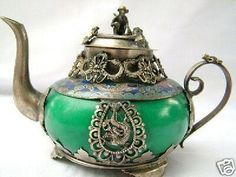 Tibet green jade Dragon & Phoenix teapot Decorated with sterling silver....