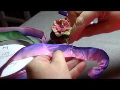 ▶ How to make a French Ribbonwork Four Petal Violet Flower - YouTube