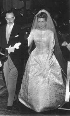 Princess Hélène d'Orléans born 1934 on her wedding day 1957 with her father Henri, Comte de Paris.