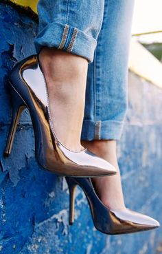 Steve Madden ~ Bronze + Silver Metallic High Heel Pumps