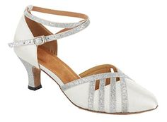 TDA Womens Stylish Ankle Cross Strap Glitter Silver Satin Salsa Tango Ballroom Latin Almond Toe Dance Shoes 10 M US >>> Click on the image for additional details.
