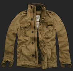 Cheap Abercrombie and Fitch Mens cascade lakes fur Jacket khaki AF205 | $110.00,A&F Polos