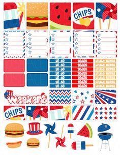 Printable Planner Stickers Stars and Stripes BBQ by LaceAndLogos