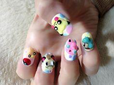 pikachu hand painted nail art