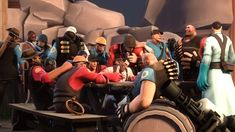 The reply of teufort mercenaries to Grey Mann by on DeviantArt Team Fortress 3, Man Vs, Red And Blue, Medical, Deviantart, Grey, Tf2 Comics, Dear God, Memes