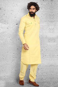Marvelous Cotton fabric Yellow colored pathani suit is decorated with fancy button. Pathani For Men, Fancy Buttons, Cotton Fabric, High Neck Dress, Suits, Yellow, Casual, Sweaters, Color