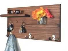Solid Wood Wall Mounted Coat Rack with Key Hooks and Floating Wall Mounted Coat Rack, Key Hooks, Wood Wall, Floating Shelves, Solid Wood, Etsy, Projects, Tips, Home
