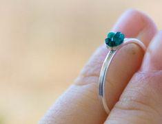 Dioptase Sterling silver Ring Green emerald by CraftsGardenOfZen, $150.00