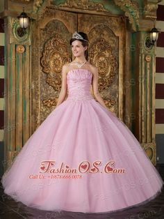 Group of: Modest Pink Sweet 16 Dress Strapless Appliques Tulle ...