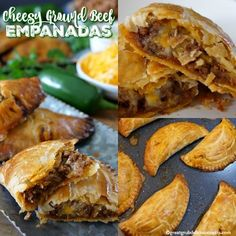 Cheesy Ground Beef Empanadas are loaded with cheese, deliciously seasoned meat, then baked to perfection. Beef Recipes For Dinner, Ground Beef Recipes, Clean Eating Recipes, Meat Recipes, Mexican Food Recipes, Cooking Recipes, Recipies, Dessert Recipes, Beef Empanadas
