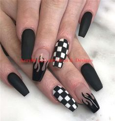 42 Chic Acrylic Coffin Nails Art Designs And Ideas In 2020 – Page 6 – Nailmo. Goth Nails, Edgy Nails, Grunge Nails, Stylish Nails, Swag Nails, Edgy Nail Art, Coffen Nails, Tribal Nails, Acrylic Nails Coffin Short