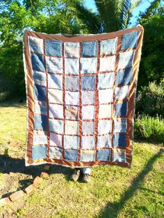 My lastest Creation Chronicle involves an unconventional mixed media quilt consisting of woolly knitted squares on a satin base. Quilt Binding, Quilt Sizes, Rust Color, Satin Fabric, Shades Of Blue, Two By Two, Mixed Media, Quilts, Studio