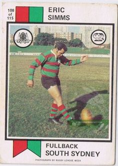 Eric Simms Rugby League, Football Team, Trading Cards, Baseball Cards, History, Sydney, Sport, Sports, Historia