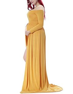 b5806bdc22863 Saslax Maternity Split Front Cotton Maternity Gown Maxi Dress for Photos  Shoot