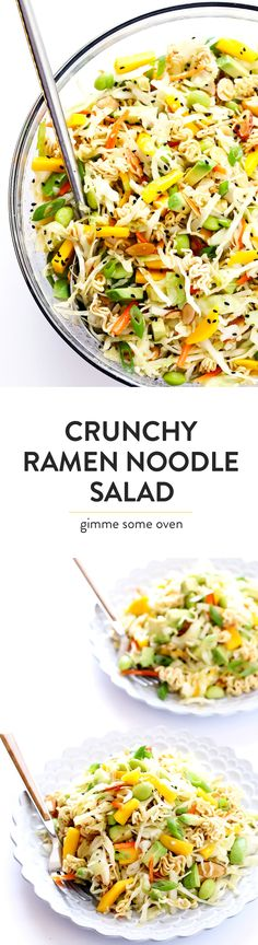 One of my all-time FAVORITE salads! It's quick and easy to make, loaded up with fresh avocado and mango and almonds and cole slaw and an Asian vinaigrette, and it's totally perfect for picnics and potlucks and easy dinner nights at home. So delicious! | gimmesomeoven.com