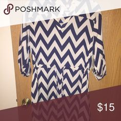 Casual dress. Size large. Navy blue and beige chevron patterned dress. Size large. Dresses Midi