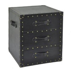 The Three Hands 3 Drawer Chest Nightstand has all the charm of an old luggage chest, upholstered in dark leatherette, endcaps and upholstery nails. Fabric strap handles are an authentic touch, and those three deep drawers hold a shipload. 3 Drawer Chest, Chest Of Drawers, Hall Chest, Old Luggage, Wood Trunk, Brass Drawer Pulls, Blonde Wood, Upholstery Nails, Accent Chest