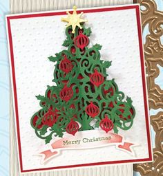 O Tannenbaum Die Cut Christmas Card: learn how to make this stunning handmade card for Christmas with @Spellbinders! #yourDIYxmas