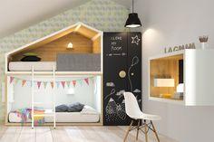 Cuando decores el cuarto de los niños es el momento de hacer volar la imaginación. Un cuarto de diseño hecho para divertirse. Cottage la casita de Lagrama. http://dismobel.es/