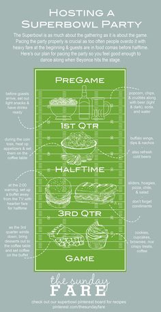 The Superbowl is as much about the gathering as it is about the game. Here are our tips for pacing the fare to so your guests leave happy...even if the game doesn't go their way. #superbowl #party #TheSundayFare l TheSundayFare.com