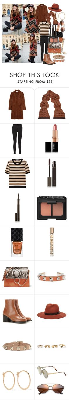 """""""Pumpkin Spice Style"""" by brownish ❤ liked on Polyvore featuring Chloé, Missoni, J Brand, Bobbi Brown Cosmetics, Sonia Rykiel, Laura Mercier, Burberry, NARS Cosmetics, Gucci and AERIN"""
