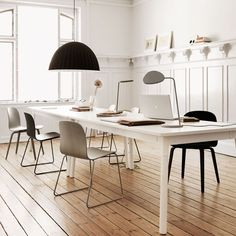 office inspiration // Muuto Visu chairs...love the light natural wood flooring with the white walls and white table and black and stainless accents.
