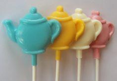 1 and a half DOZEN (18) Chocolate TEAPOT Lollipops  --  Tea Time, Tea Party favors, Bridal Shower favors, Wedding favors, Tea Lovers Gift. $18.00, via Etsy.