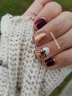 Fall nails fall nail art pumpkin nails…
