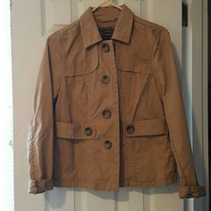 Old Navy Jacket Brown khaki jacket with pockets. Used but in good condition!! 100% cotton. Machine wash cold with like colors. Old Navy Jackets & Coats Utility Jackets