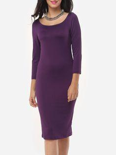 #AdoreWe #Fashionmia Fashionmia❤️Designer Womens Plain Elegant Brilliant Charming Round Neck Bodycon Dress - AdoreWe.com