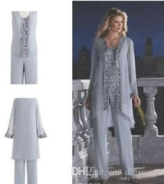 13bf76d22a Mother Of The Bride Groom 3 Piece Pant Suit Silver Chiffon Beach Wedding Mothers  Dress Long Sleeves Beads Formal Evening Wear