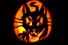 Patterns of cat carved into a Halloween Pumpkin. A huge collection of samples. Cat Pumpkin Carving, Halloween Pumpkin Stencils, Pumpkin Carving Patterns, Halloween Mug, Halloween Pumpkins, Halloween Decorations, Pumpkin Carver, Pumpkin Designs, Ghost Cat
