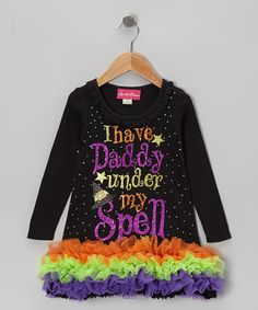 Take a look at this Black Sparkle 'Daddy' Ruffle Dress - Infant, Toddler & Girls by The Princess and the Prince on #zulily today!